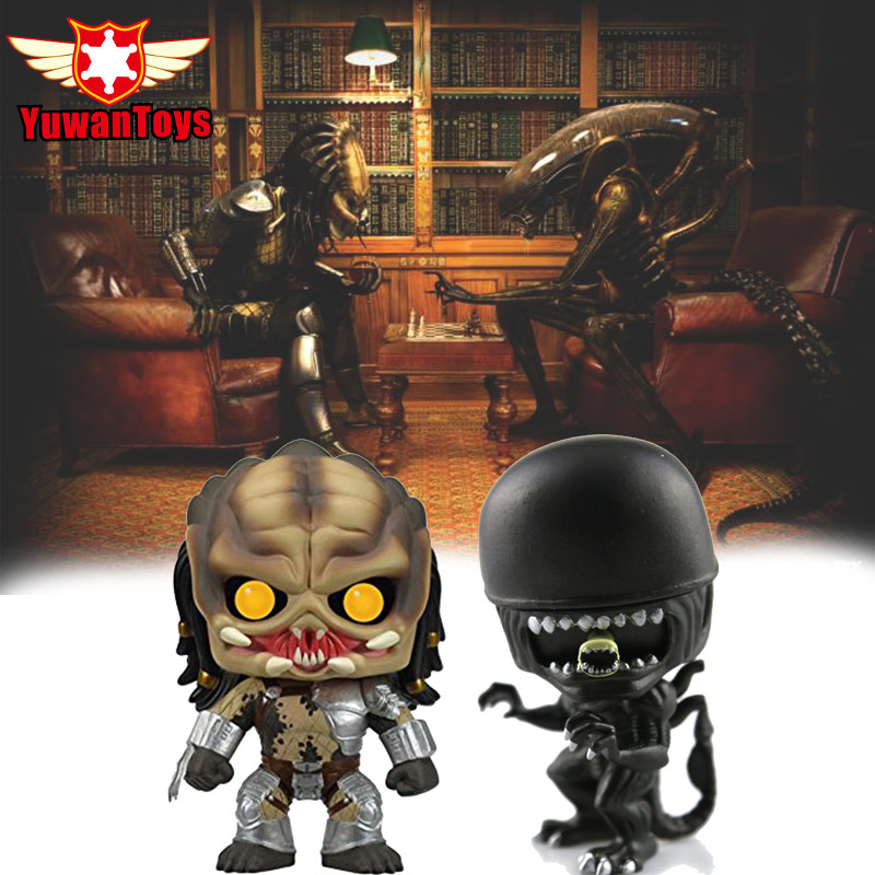 Alien VS Predator PVC Action Figure Bobble Head Q Edition For Car Decoration Vinyl Loose Collectible Action Figures Model Toys