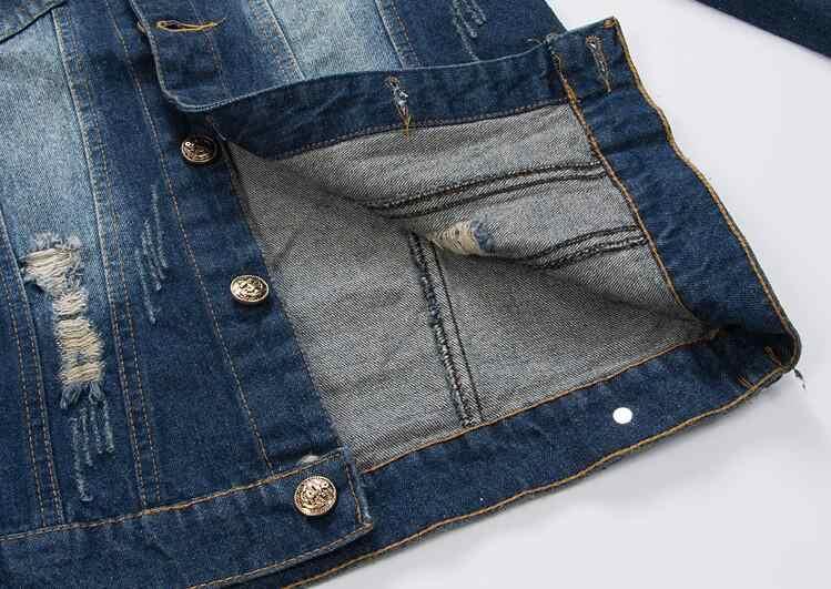 2019 Mới Vxo Nút lá cờ Mỹ Áo Khoác Jeans Vintage quần jean denim phối phù hợp với áo khoác mỏng Kiểu dáng phù hợp với tay dài ÁO KHOÁC