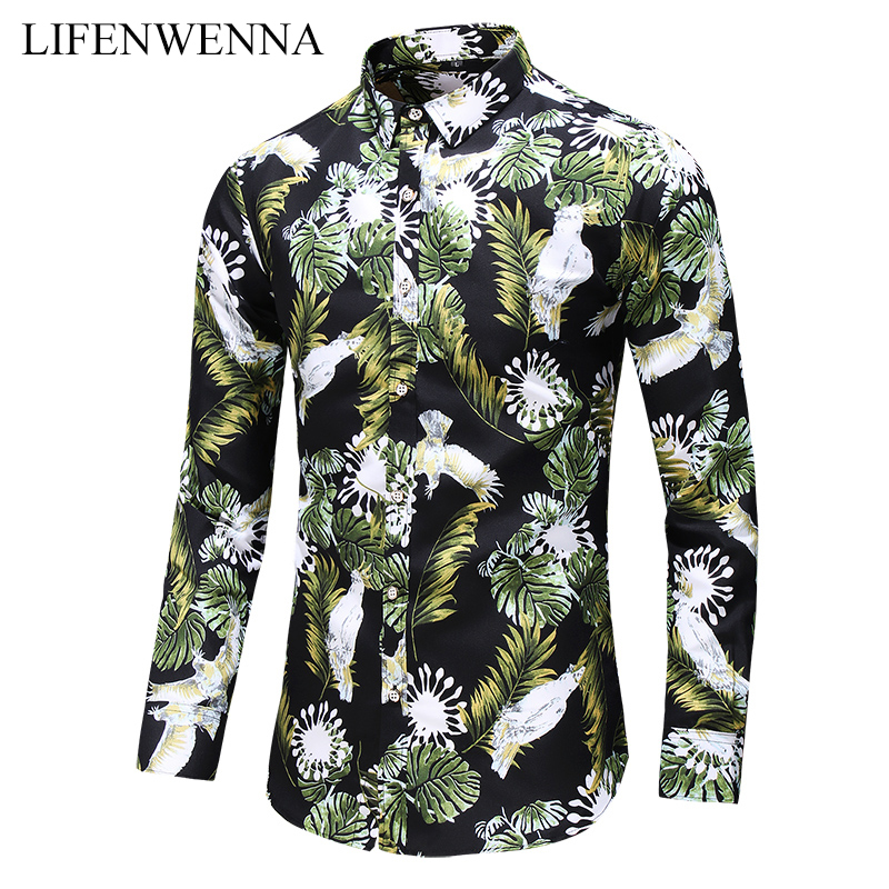Plus Size 6XL 7XL Men's Shirt Autumn New Fashion Flower Printed Long Sleeve Shirts Men Casual Business Office Floral Shirts Male