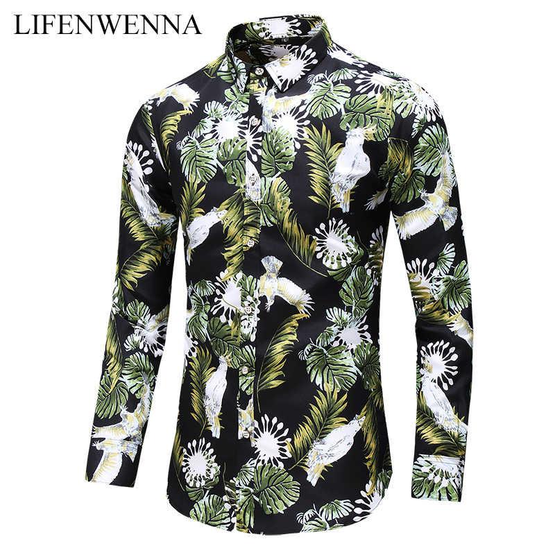 Plus Ukuran 6XL 7XL Kemeja Pria Musim Gugur Baru Fashion Bunga Dicetak Lengan Panjang Kemeja Bisnis Kasual Kantor Bunga kemeja Pria