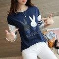 Camiseta Femme Tees Mujeres Camiseta Tops Para Mujer de Moda 2017 Algodón Camiseta conejo Camiseta Impresa de Manga Larga Camisetas Mujer