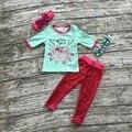 Trajes de los bebés Caen niñas deporte libre de lentejuelas ropa conjuntos pantalón bebé ropa de boutique con mathcing diadema y collar