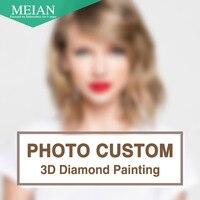 Meian DIY Diamond Embroidery Photo Custom 5D Private Custom Diamond Painting Cross Stitch 3D Diamond Mosaic