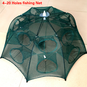 Image 1 - 最新の 4 20 穴自動折りたたみ漁網エビケージナイロン折りたたみカニ魚トラップキャストネットキャスト折りたたみ釣りネットワーク