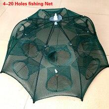 Mais novo 4 20 furos automático dobrável rede de pesca gaiola de camarão de pesca dobrável de náilon caranguejo armadilha de peixes elenco rede de pesca dobrável