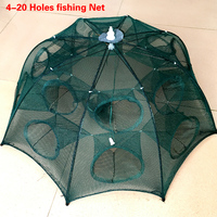 4 20 Holes Automatic Folding Fishing Net Shrimp Cage Nylon Foldable Crab Fish Trap Cast Net