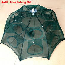 Red de pesca plegable automática de 4 20 agujeros, jaula de nailon para camarones, trampa para peces fundida, plegable