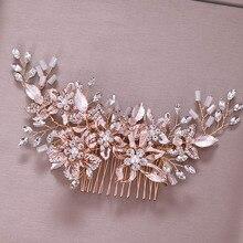 FORSEVEN, новая мода, розовое золото, Хрустальный цветок, искусственный жемчуг, свадебная расческа для волос, украшения для волос
