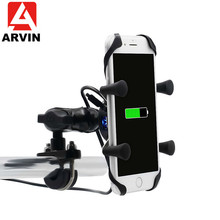 ARVIN 2 in 1 Motorcycle USB Charging Phone Holder Stand For iPhone XR Universal Rotating Fast Charger Mobile Bracket Mount
