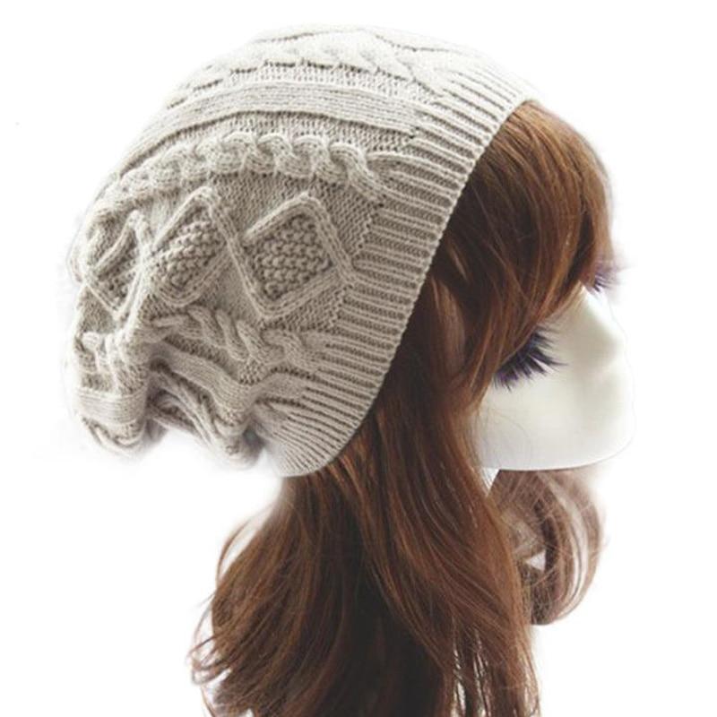 2016 Warme Winter Hüte Frauen Gestrickte Wolle Twist Skullies Beanie Hut Für Winter Warme Kappe Hüte Weibliche Gorros Cappelli Invernali Kann Wiederholt Umgeformt Werden.