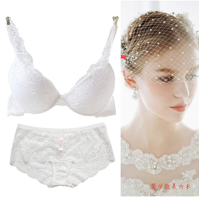 70f8d8c277224 Summer lace push up sexy underwear embroidery young girl bra small  adjustable transparent thin bra set