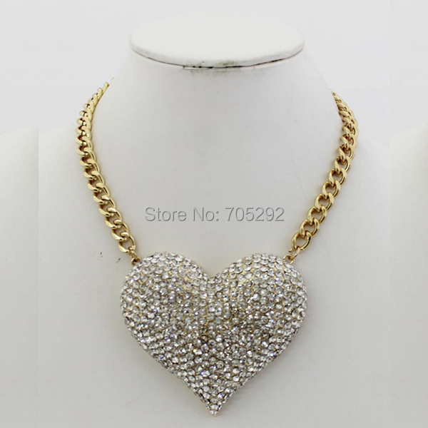New Vintage Gold Red / Clear strass coeur collier et pendentif collier de mode Choker déclaration