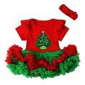 Árvore de natal Santas Traje das Meninas Tutu Mini Dress + Headband Festival Adereços Fotografia Fantasia Vestidos de Roupas Da Criança Do Bebê