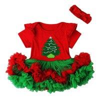 Christmas Tree Santas S Costume Girls Tutu Mini Dress Headband Festival Photography Props Fancy Toddler Baby