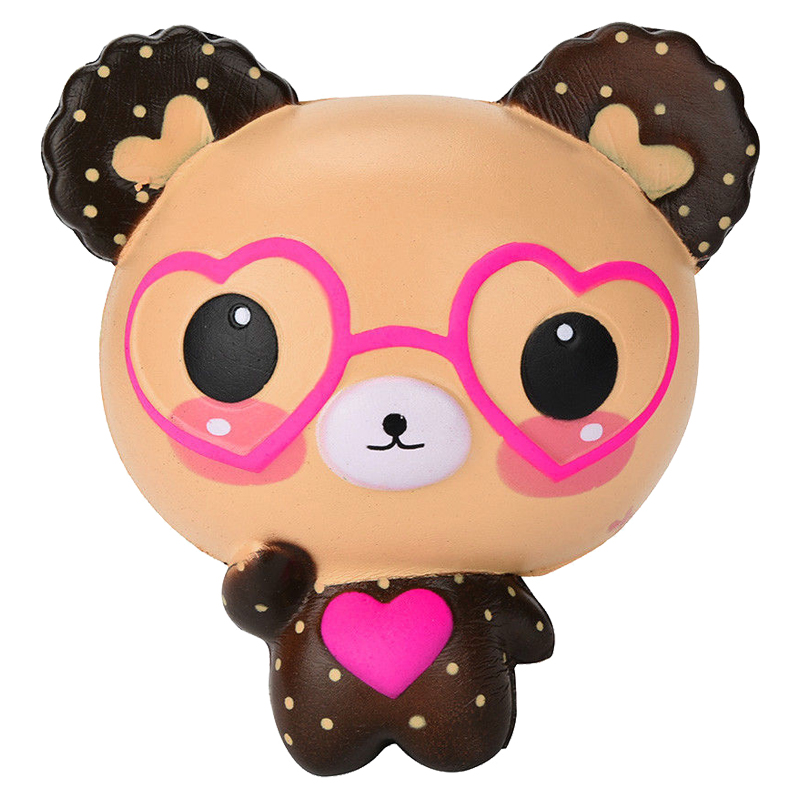 Jumbo Kawaii Squishy Lovely Cute Glasses Bear Scented Squishy Charm Super Slow Rising Squeeze Toys Stress Reliever Toy For Kids