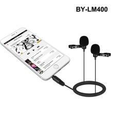 BY-LM400 электретный конденсаторный двойной всенаправленный петличный микрофон excelllent для интервью для IOS Android-смартфон