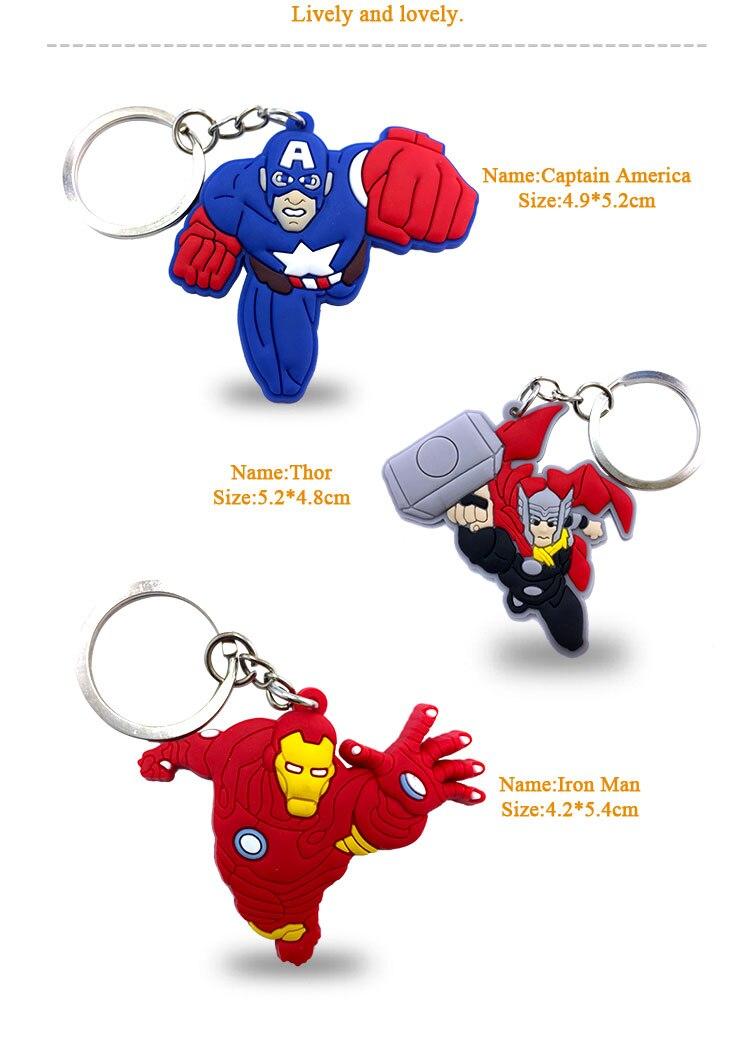 Image 5 - Llavero Los vengadores de Marvel de dibujos animados de 100 Uds.  Llavero de Superman de Anime de PVC llavero de Batman llavero con  colgante de chico de juguete regalo de NavidadLlaveros