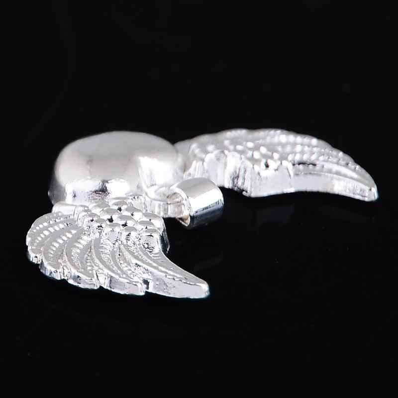 Women Men 925 Angel Wings สร้อยคอจี้เงินโลหะ Angel Wing หัวใจรักจี้ Charm เครื่องประดับ