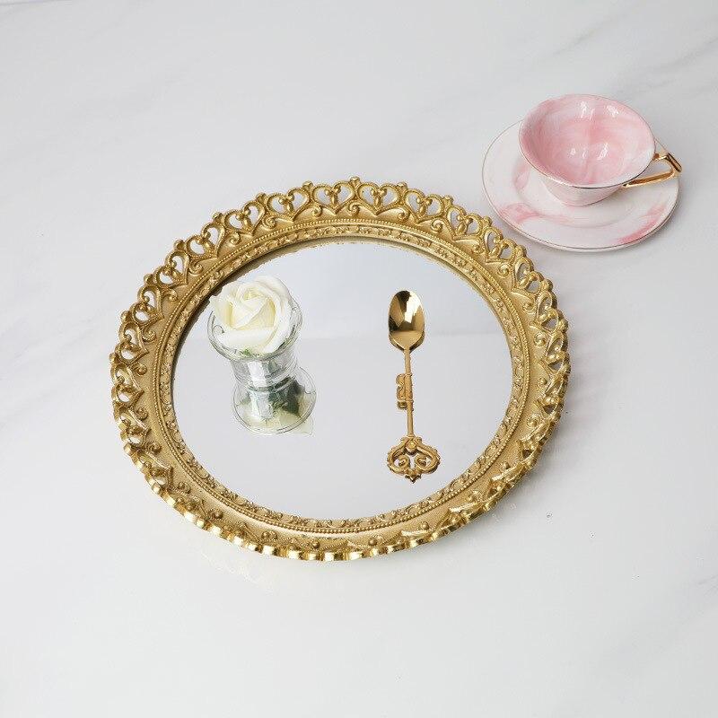 Bague de mariage en résine or miroir | Plateaux ronds de rangement, bijoux plat à Dessert, organisateur de cuisine, cosmétiques