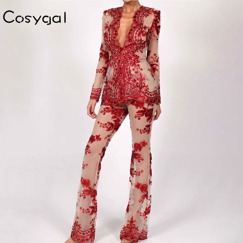 COSYGAL Sexy Women Two Piece Suits 2018 Summer Long Sleeve Deep V Neck  Black Red Rompers Suits Club Party Bodycon Overalls-in Jumpsuits from  Women s ... 020d566eac82