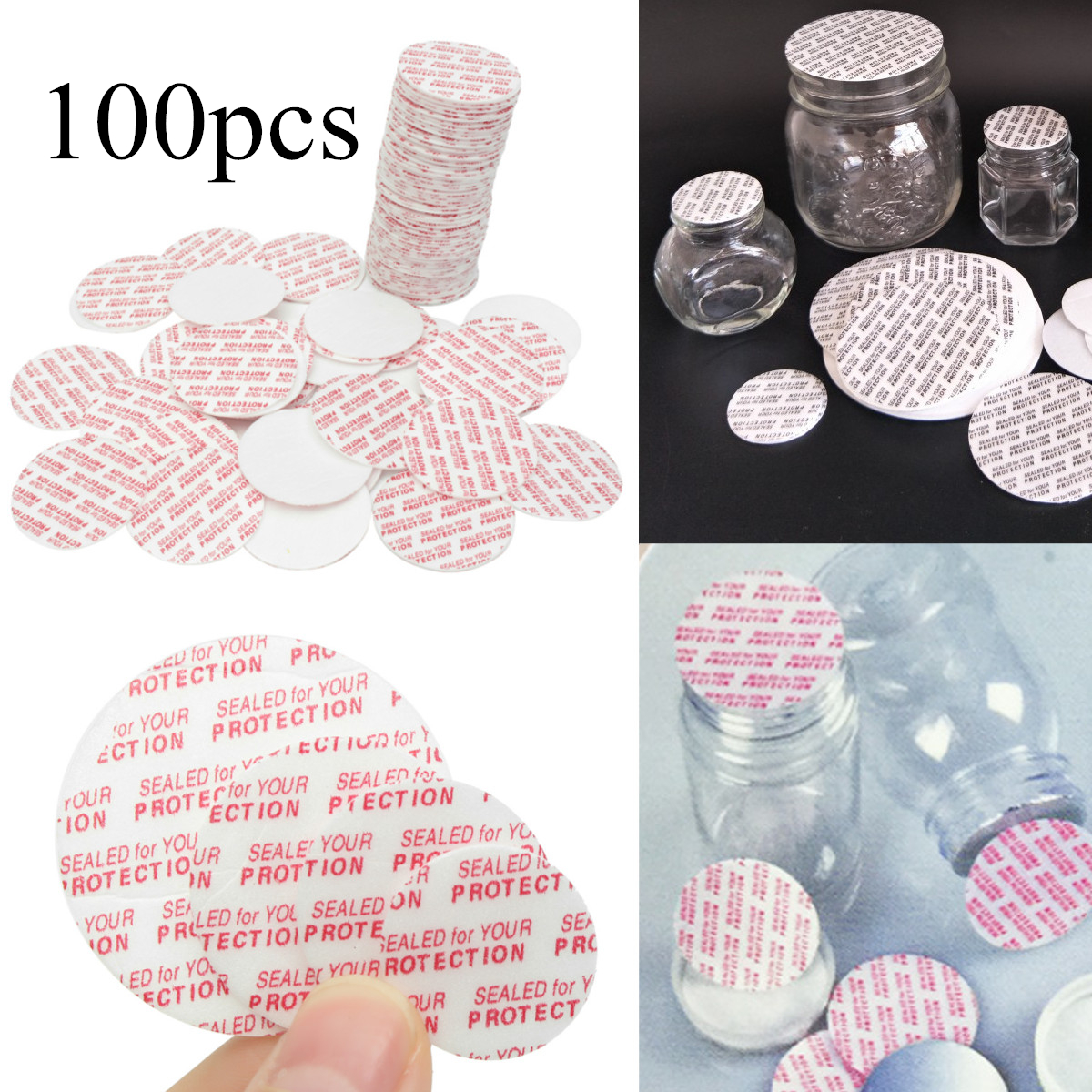 Lot 50 New 24mm Press and Seal Cap Liners Foam Safety Tamper Seals for Bottles