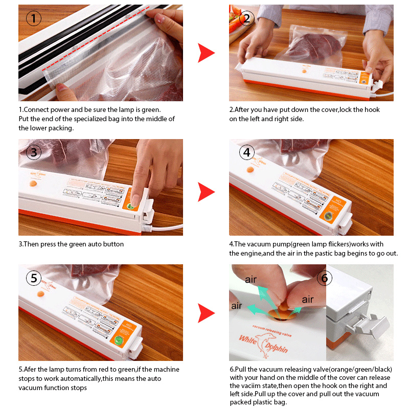 Image 4 - Food Vacuum Sealer Packaging Machine 110V 220V Film Sealer Vacuum Packer Saver Storage Rolls  15Pcs Bags Best Vacuum Food Sealervacuum food sealerfood vacuum sealerfood sealer -