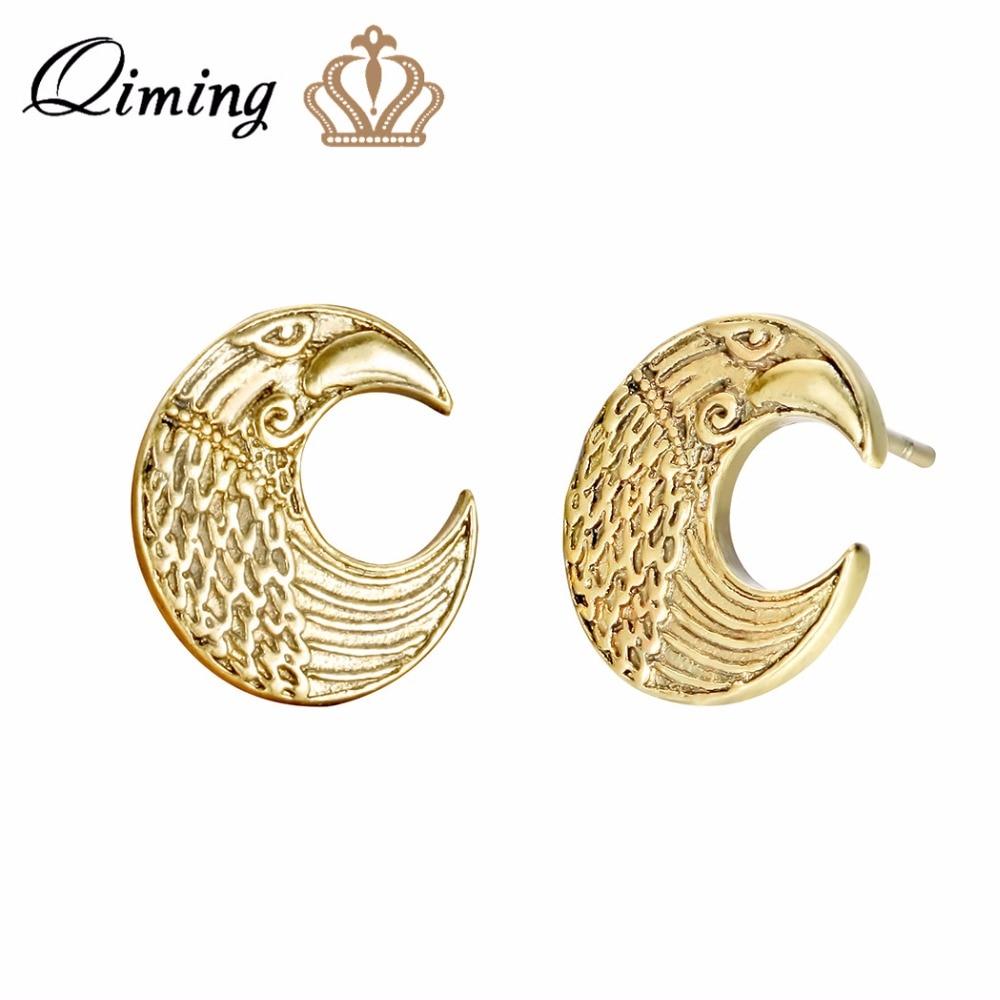 Crescent Moon Earrings Raven Pagan Slavic Pendant Amulet Classic Design Jewelry