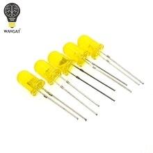 100 шт 5 мм рассеянные, желтые светодиодный Диод DIP Круглый широкий угол через отверстие 2 Pin светодиодный светодиод лампы 580-590nm 2 в