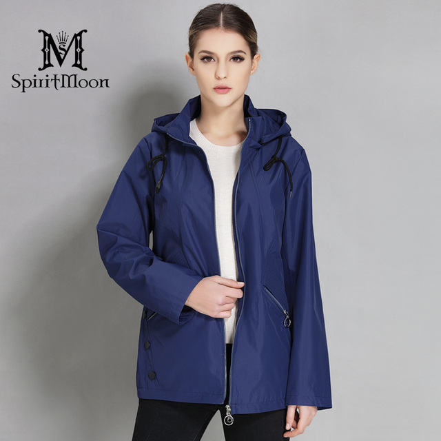 84ee6f7148ca9 SpiritMoon 2018 New Spring Stylish Parka For Women Trench Coat Hooded  Windbreaker Cloak Casual Jacket Women Plus Size 5XL 6XL