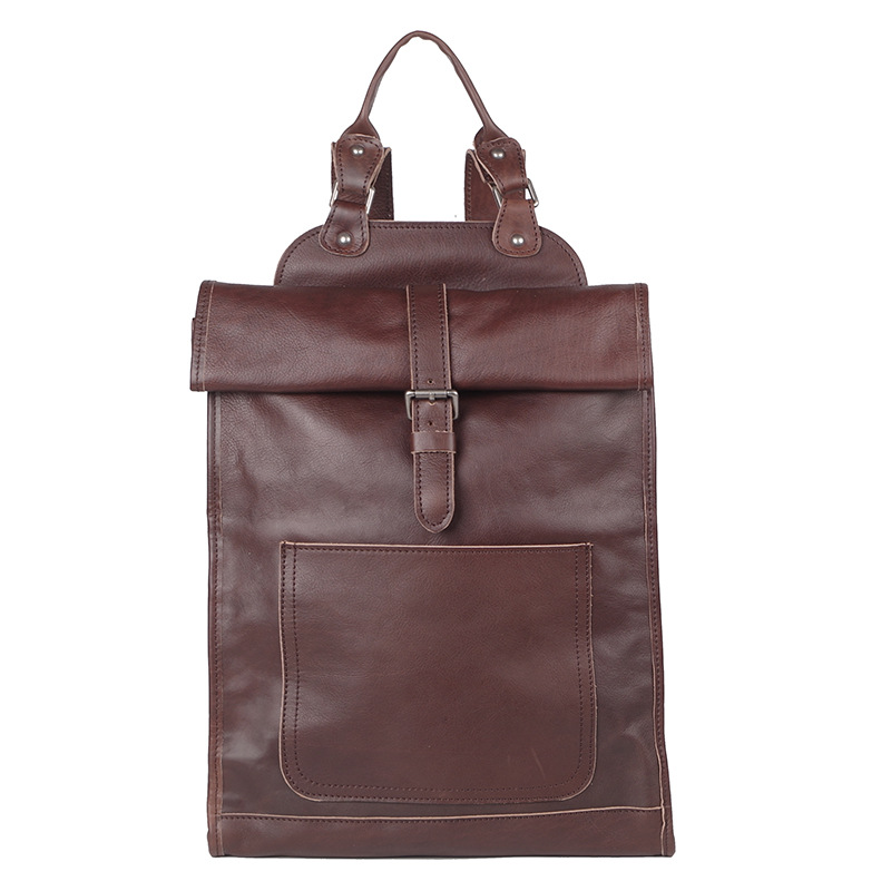 Genuine leather unisex casual backpack handmade large soft laptop bags