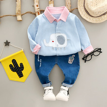 WYNNE GADIS Baby's Clothing Sets Girls 2Pcs Suits Denim Jeans Trousers + Boys Corduroy Elephant Lapel Collar Shirt Kids Tops