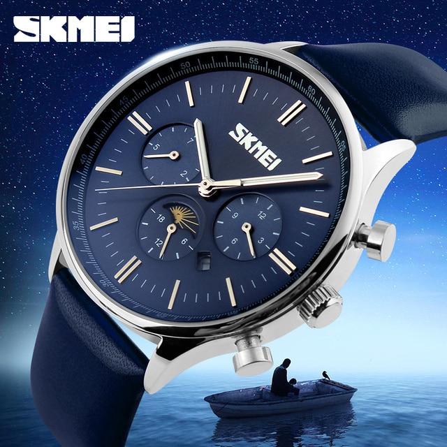 ad7a7933997 SKMEI Relógio de Quartzo dos homens Relógios De Luxo Relogio masculino Moda Casual  Couro Genuíno Azul