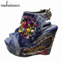 2016 Designer Summer Wedge Shoes Woman Embroidery Flowers High Heels Chunky Heel Peep Toe Fashion Denim