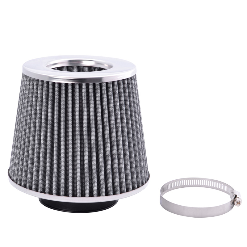 "3/"" Short Ram Cold Air Intake Filter Round//Cone Universal BLACK For Audi 1"