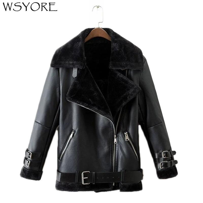 WSYORE Parkas Fur Coats Women Autumn and Winter Black Motorcycle Leather Jacket Fashion Sashes Zipper Biker Jacket NS310