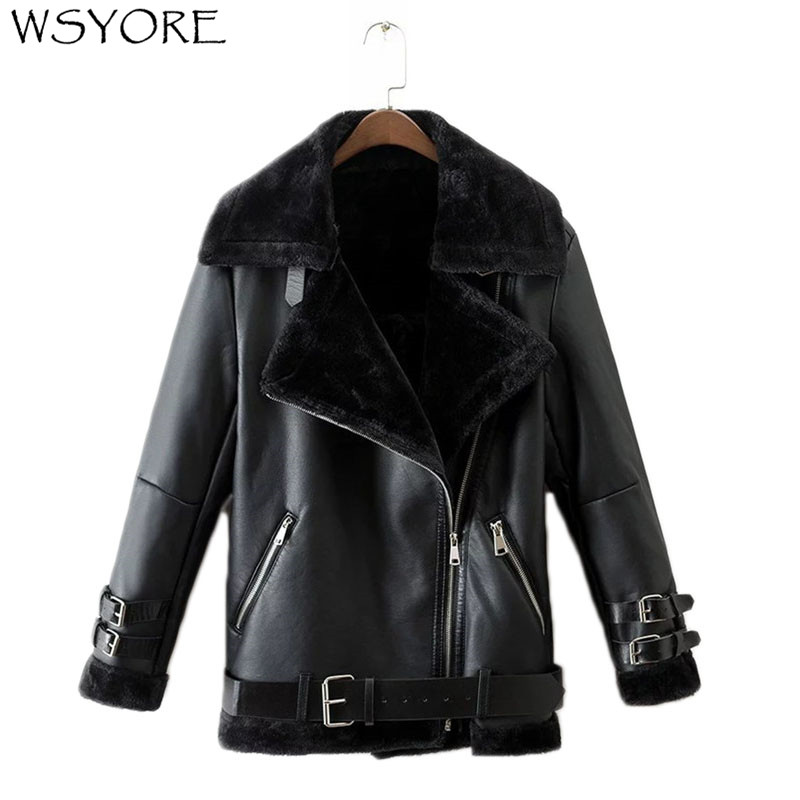WSYORE Parkas Fur Coats Women Autumn and Winter Black Motorcycle   Leather   Jacket Fashion Sashes Zipper Biker Jacket NS310