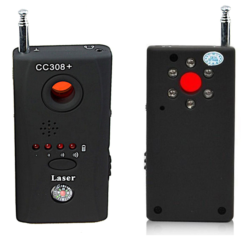 Newly Wireless Hidden Camera GSM Device Audio Bug Finder GPS Signal Laser Lens RF Tracker Anti Spy Detector CC308+ wholesale cc308 full range wireless camera gps anti spy bug detect rf signal detector gsm device finder fnr cc308