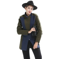 2018 Coats Female Autumn Winter Fashion Contrast Color Stand Collar Large Size Long Sleeves Slim Temperament Woolen Ladies Coat