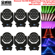 Envío Gratis 6 unids/lote Super diamante LED Zoom 19X15 W RGBW 4in1 DMX etapa Luz de cabeza móvil para escenario disco de DJ bAR(China)