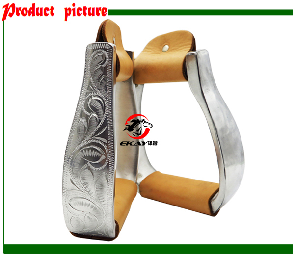 Free Shipping Aluminum Stirrup With Hand Engraved,size:4 3/4
