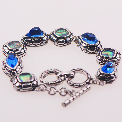 Blue Simulated Topaz Abalone Shell 925 Sterling Silver Jewelry Crystal Bracelet TE411