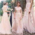 Blush Pink Nude Appliques Women Wedding Formal Gowns Bridesmaid Dress Long Elegant Brides Gowns Bridal 2017 Boho Wedding Dresses