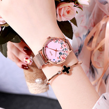 цена на New 2019 Women Bracelet Watches Luxury Brand Creative Flower Dial Watch For Ladies Rose Gold Pink Quartz Clock Relogio Feminino