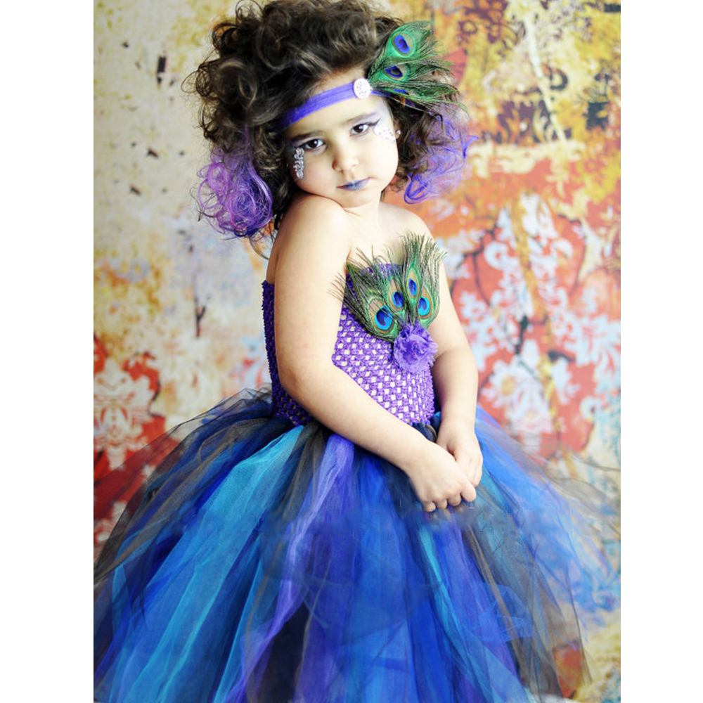peacock feather tutu dress birthday outfit photo prop halloween