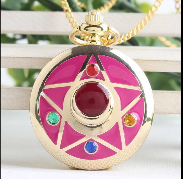 Luxury Fashion Sailor Moon Anime Cartoons Quartz Pocket Watch Analog Pendant Necklace Girl Womens Watches Gift PLK89