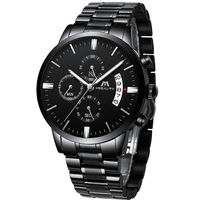 MEGALITH Sports Chronogra Watch Men Waterproof Date Calendar Watch For Men Black Stainless Steel Strap Wrist Watch Reloj Hombre