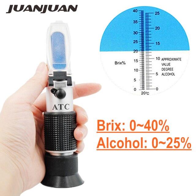 Ручной спиртовой рефрактометр измеритель концентрации сахара вина дензиметр 0-25% алкогольное пиво 0-40% БРИКС виноград АТС 48% скидка