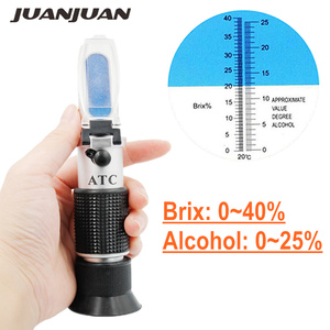 المحمولة الكحول الإنكسار السكر النبيذ تركيز متر مقياس الكثافة 0-25% الكحول البيرة 0-40% بركس العنب ATC 48% قبالة