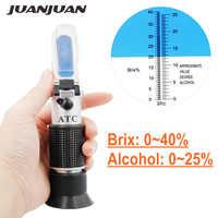 Handheld alkohol refraktometer zucker Wein konzentration meter dichtemesser 0-25% alkohol bier 0-40% Brix trauben ATC 48% off