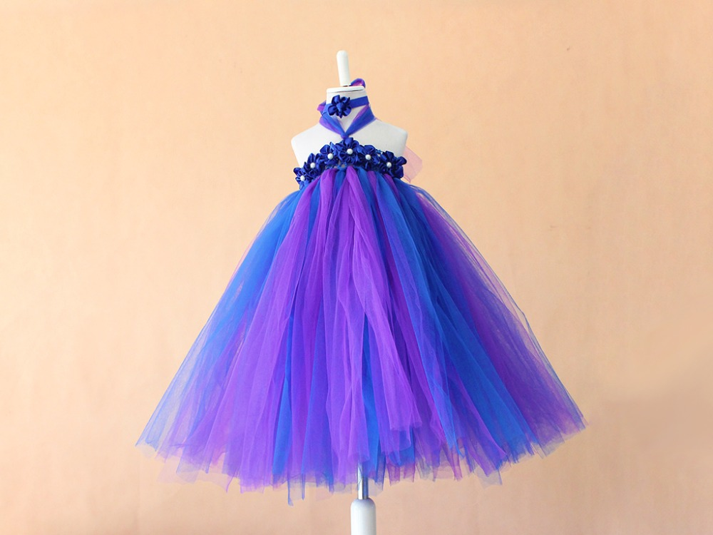 2015 Amazing Fluffy Layer Flower Girl Dress Ivory Satin purple Train Tulle Kids Tutu Dess Girl Evening Dress Party Birthday ...